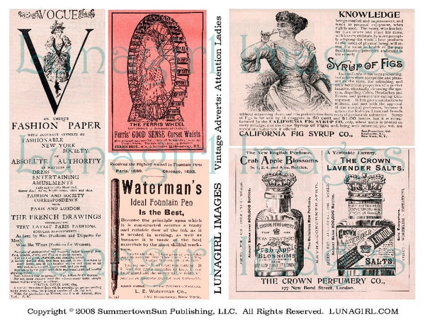 digital collage sheet download vintage ephemera text pages Victorian ads pink