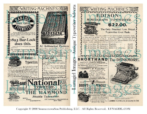 Antique Typewriter Adverts Digital Collage Sheet - Lunagirl