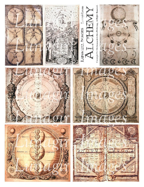 Alchemy 1 in Sepia Digital Collage Sheet - Lunagirl