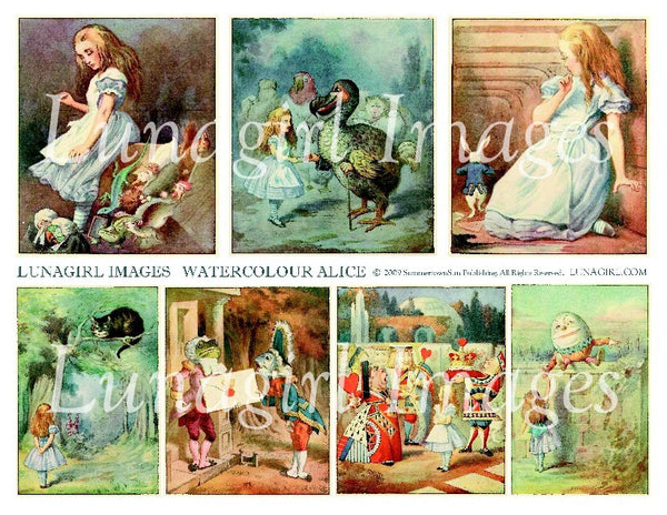 Watercolour Alice #1 Digital Collage Sheet - Lunagirl