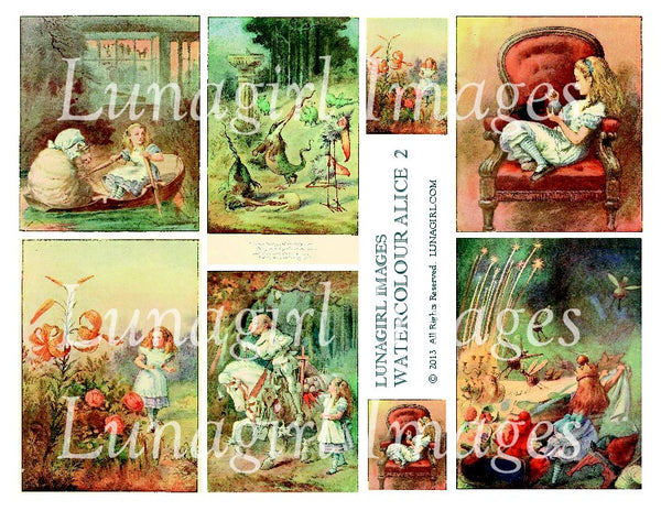 Watercolour Alice #2 Digital Collage Sheet - Lunagirl