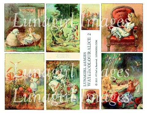 Watercolour Alice #2 Digital Collage Sheet