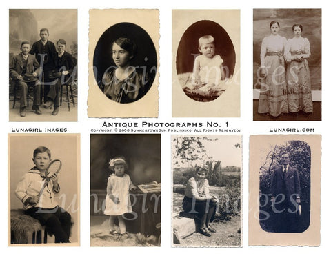Antique Photographs Digital Collage Sheet - Lunagirl
