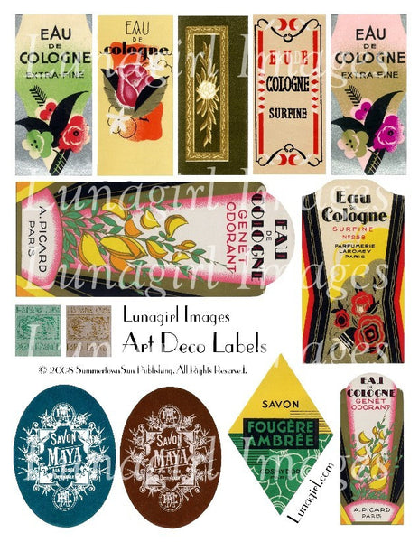 Art Deco Labels Digital Collage Sheet - Lunagirl