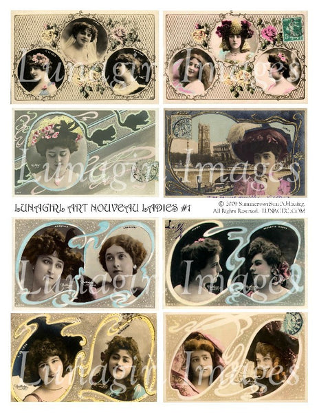 Art Nouveau Ladies 1 Digital Collage Sheet - Lunagirl