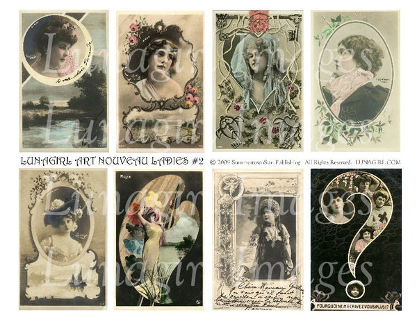 Art Nouveau Ladies 2 Digital Collage Sheet - Lunagirl