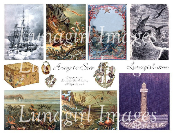 Away To Sea Digital Collage Sheet - Lunagirl