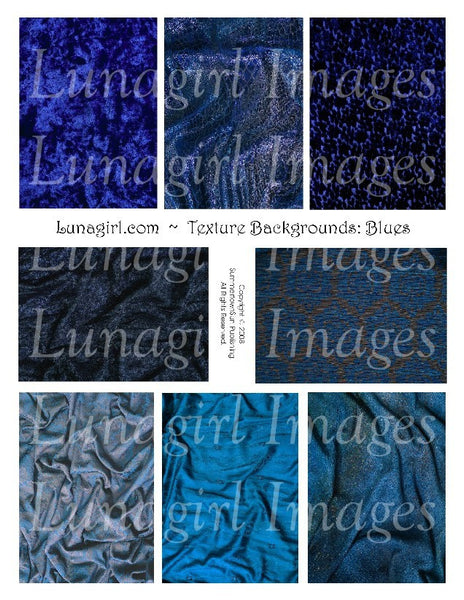 Textures: Blues Digital Collage Sheet - Lunagirl