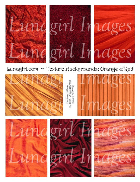 Textures: Orange & Red Digital Collage Sheet - Lunagirl