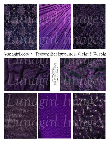 Textures: Violet & Purple Digital Collage Sheet - Lunagirl