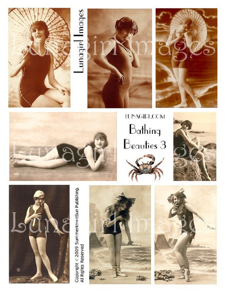 Bathing Beauties #3 Digital Collage Sheet - Lunagirl