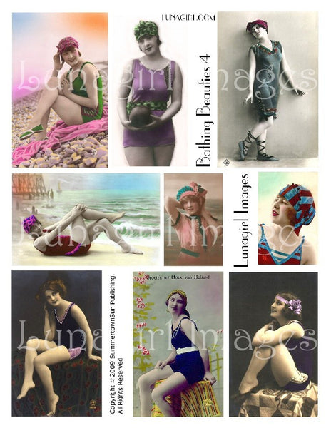 Bathing Beauties #4 Digital Collage Sheet - Lunagirl