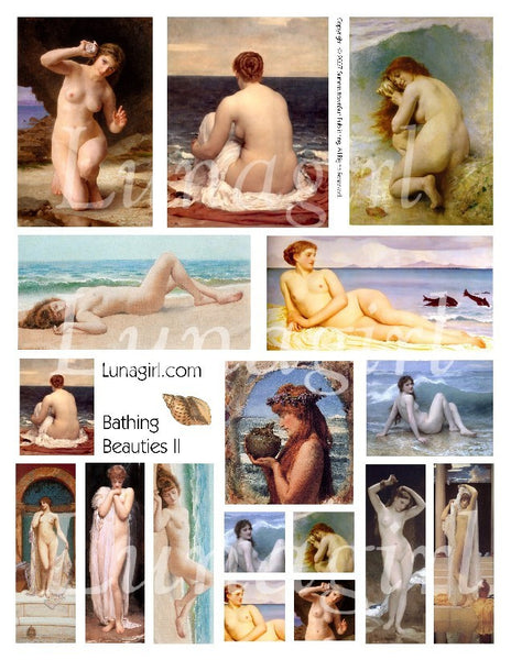 Bathing Beauties #2 Digital Collage Sheet - Lunagirl