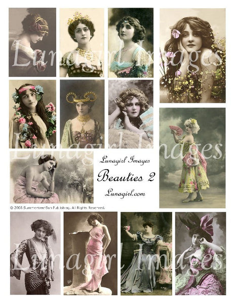 Beauties #2 Digital Collage Sheet - Lunagirl