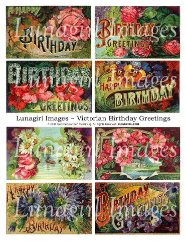 Victorian Birthday Greetings Digital Collage Sheet - Lunagirl