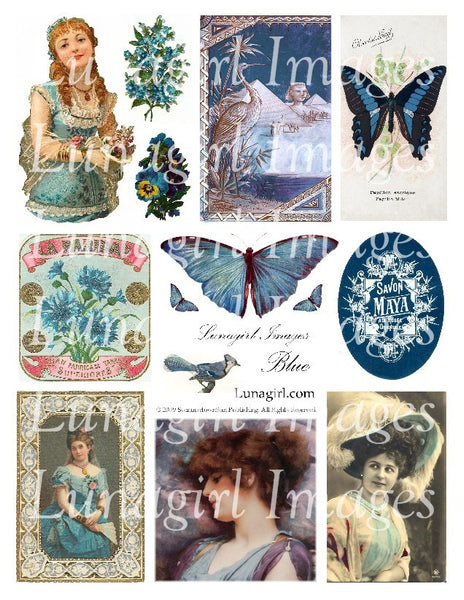 Blue Digital Collage Sheet - Lunagirl