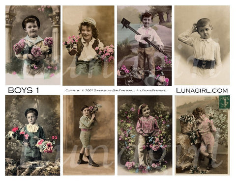 Victorian Boys Digital Collage Sheet - Lunagirl