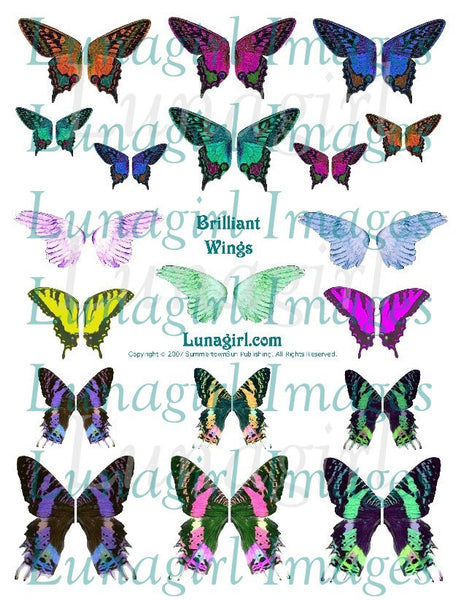 Brilliant Wings Digital Collage Sheet - Lunagirl