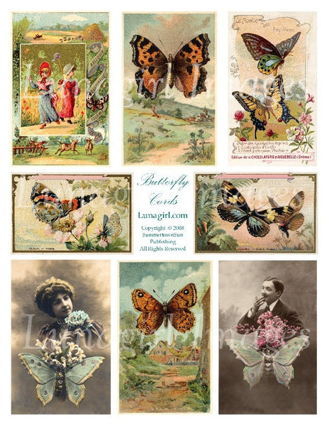 Butterfly Cards Digital Collage Sheet - Lunagirl