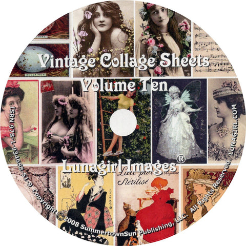 Digital Collage Sheets on CD Volume #10 - Lunagirl
