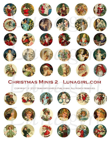 "Christmas Minis 2 (1"" Circles) Digital Collage Sheet - Lunagirl"
