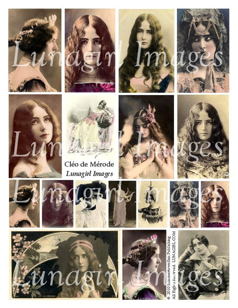 Cleo de Merode Digital Collage Sheet - Lunagirl