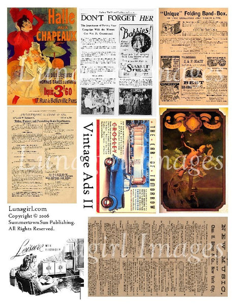 Vintage Ads #2 Digital Collage Sheet - Lunagirl