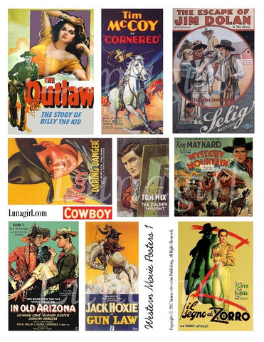 Cowboy Western Movie Posters Digital Collage Sheet - Lunagirl