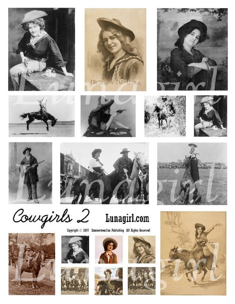 Cowgirls #2 Digital Collage Sheet - Lunagirl