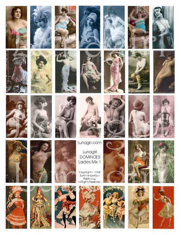 Dominoes (1x2) Ladies Mix #1 Risque Digital Collage Sheet - Lunagirl
