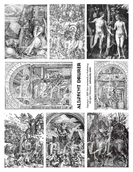 Albrecht Durer Engravings Digital Collage Sheet - Lunagirl