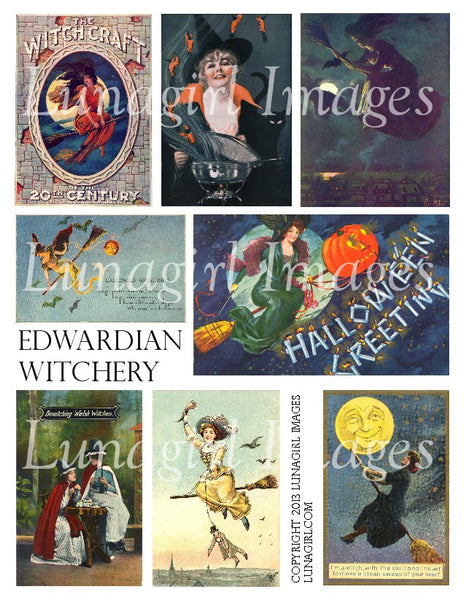 Edwardian Witches Digital Collage Sheet - Lunagirl