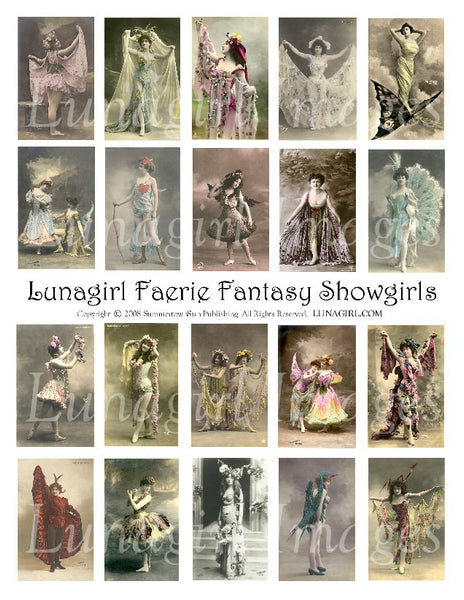 Faerie Fantasy Showgirls Digital Collage Sheet - Lunagirl