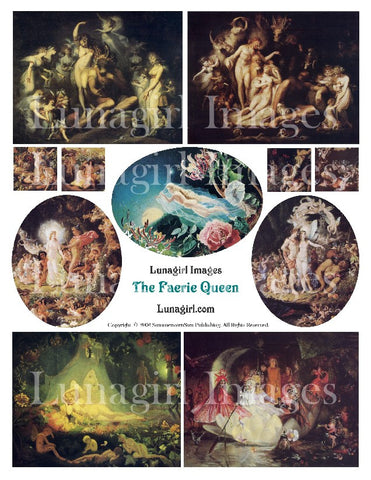 The Faerie Queen Digital Collage Sheet - Lunagirl