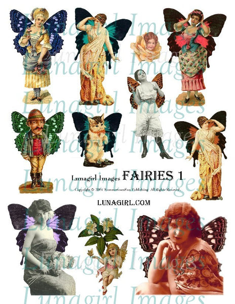 Fairies #1 Digital Collage Sheet - Lunagirl
