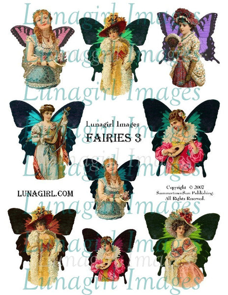 Fairies #3 Digital Collage Sheet - Lunagirl