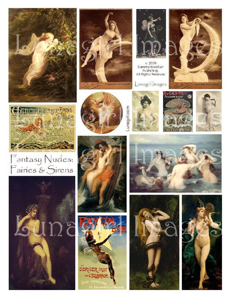 Fantasy Nudes: Fairies & Sirens Digital Collage Sheet - Lunagirl