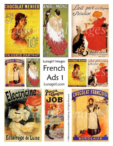 French Ads #1 Digital Collage Sheet - Lunagirl