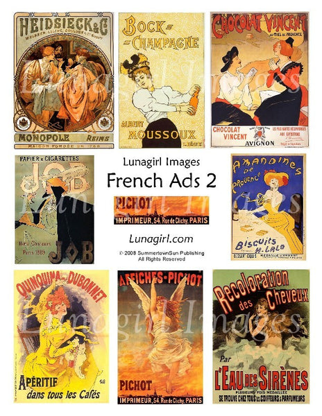 French Ads #2  Digital Collage Sheet - Lunagirl