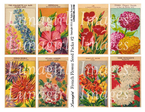 French Flowers Seed Packs #2 Digital Collage Sheet - Lunagirl
