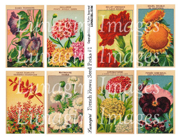 French Flowers Seed Packs #1 Digital Collage Sheet - Lunagirl