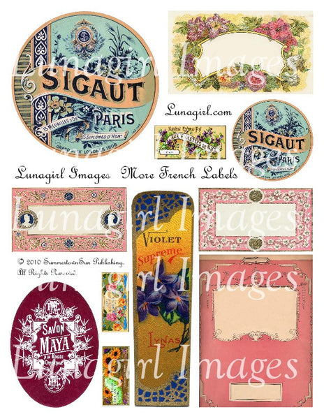 More French Labels Digital Collage Sheet - Lunagirl
