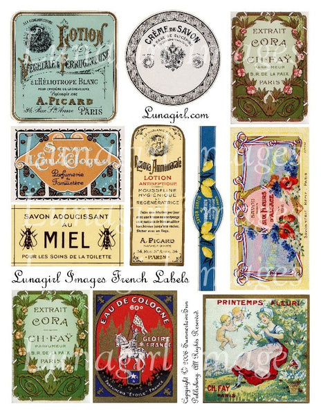 French Labels Digital Collage Sheet - Lunagirl
