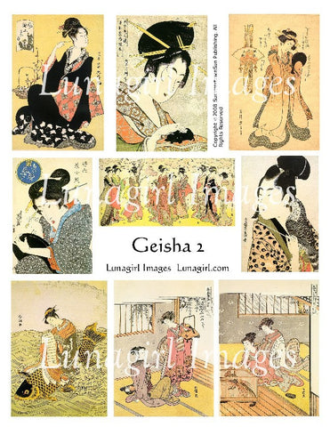 Geisha Vintage Images #2 Digital Collage Sheet - Lunagirl