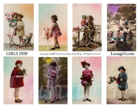 Girls 1929 Digital Collage Sheet - Lunagirl