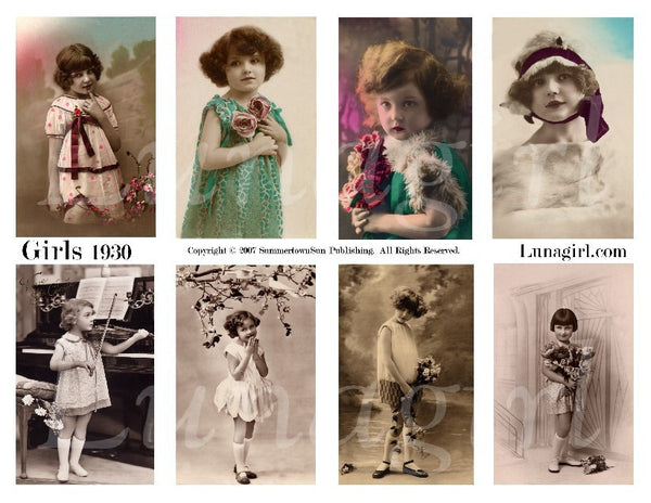 Girls 1930 Digital Collage Sheet - Lunagirl