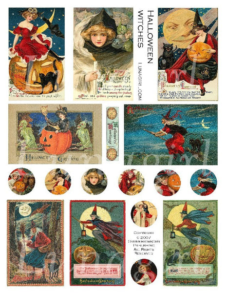 Halloween Witches Digital Collage Sheet - Lunagirl