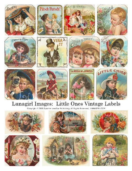 Children Vintage Labels Digital Collage Sheet - Lunagirl