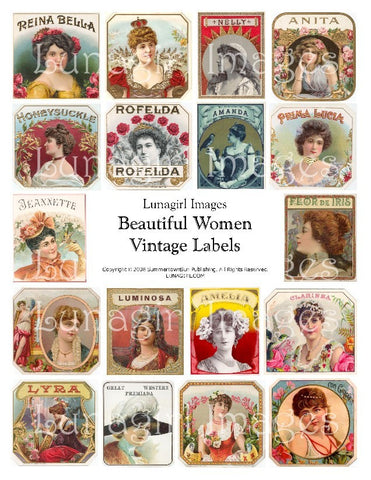 Women Vintage Labels Digital Collage Sheet - Lunagirl