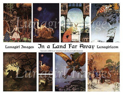 In a Land Far Away Digital Collage Sheet - Lunagirl